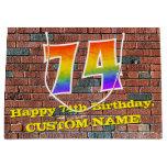 [ Thumbnail: 74th Birthday: Fun, Graffiti-Inspired Rainbow # 74 Gift Bag ]