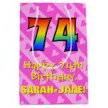 [ Thumbnail: 74th Birthday: Fun Pink Hearts Stripes; Rainbow 74 Gift Bag ]
