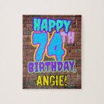 [ Thumbnail: 74th Birthday ~ Fun, Urban Graffiti Inspired Look Jigsaw Puzzle ]