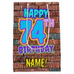 [ Thumbnail: 74th Birthday: Fun, Urban Graffiti Inspired Look Gift Bag ]