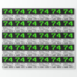 "[ Thumbnail: 74th Birthday - Nerdy / Geeky Style ""74"" and Name Wrapping Paper ]"