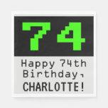 """[ Thumbnail: 74th Birthday - Nerdy / Geeky Style """"74"""" & Name Napkins ]"""