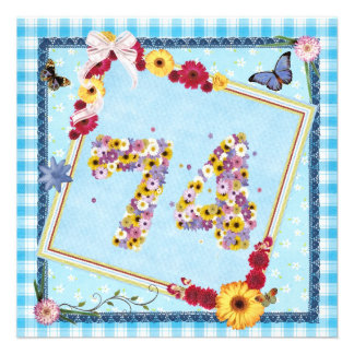 74th Birthday party Invitation flowers,butterflies