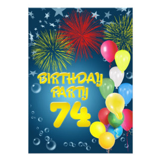 74th Birthday party Invitation with balloons