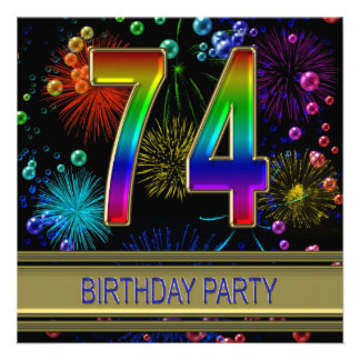 74th Birthday party Invitation with bubbles