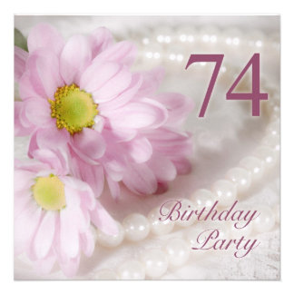 74th Birthday party invitation with daisies