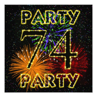 74th birthday party invitation with fireworks