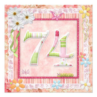 74th birthday party scrapbooking style personalized announcement