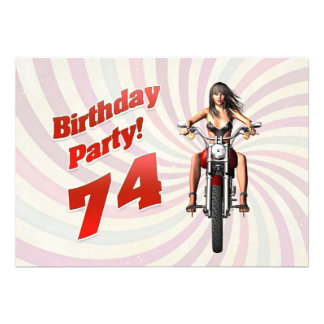 74th birthday party with a girl on a motorbike personalized invite