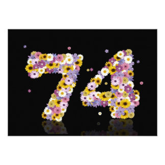 74th Birthday party, with flowered letters Custom Invitations