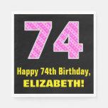 "[ Thumbnail: 74th Birthday: Pink Stripes and Hearts ""74"" + Name Napkins ]"
