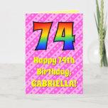 [ Thumbnail: 74th Birthday: Pink Stripes & Hearts, Rainbow # 74 Card ]