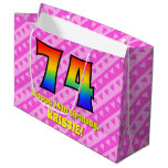 [ Thumbnail: 74th Birthday: Pink Stripes & Hearts, Rainbow # 74 Gift Bag ]
