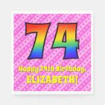 [ Thumbnail: 74th Birthday: Pink Stripes & Hearts, Rainbow # 74 Napkins ]
