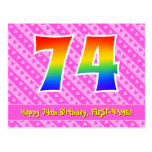 [ Thumbnail: 74th Birthday: Pink Stripes & Hearts, Rainbow 74 Postcard ]