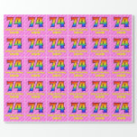 [ Thumbnail: 74th Birthday: Pink Stripes & Hearts, Rainbow # 74 Wrapping Paper ]