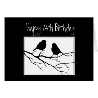 74th Birthday Two Birds in Tree Nature Card