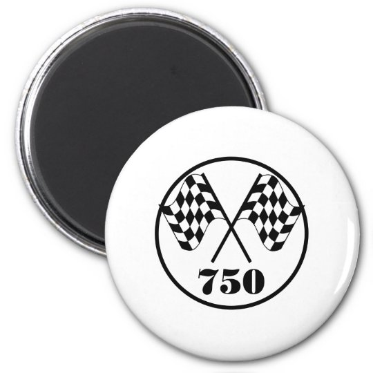 750 Checkered Flags 2 Inch Round Magnet