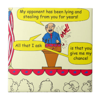751 give me a chance political cartoon ceramic tile