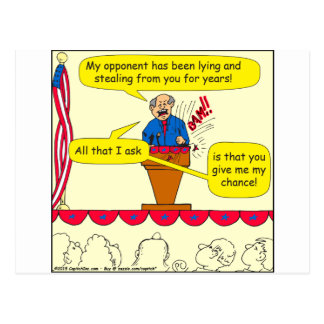751 give me a chance political cartoon postcard