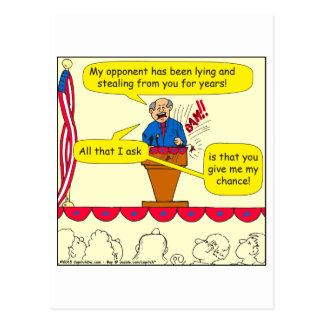751 give me a chance political cartoon postcard