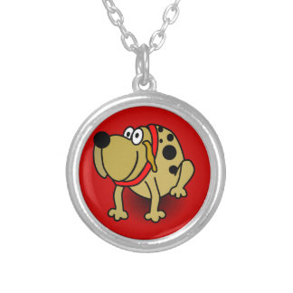 7522-guarddog-vector BROWN SPOTTED GUARD DOG RED C Personalized Necklace