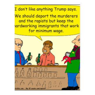 753 immigrants work for minimum wage cartoon postcard