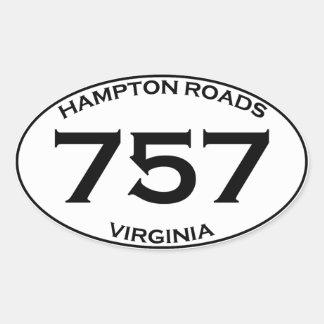 757 Hampton Roads Virginia Oval Sticker