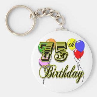 75.a celebración feliz del cumpleaños llavero redondo tipo pin