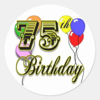 75.a celebración feliz del cumpleaños pegatina redonda