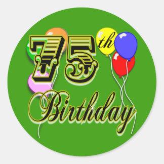 75.a celebración feliz del cumpleaños etiquetas redondas