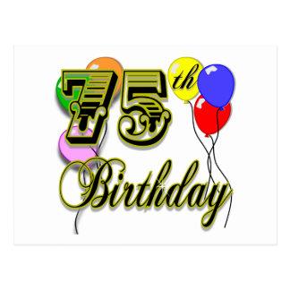 75.a celebración feliz del cumpleaños postal