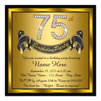 75.a fiesta de cumpleaños del oro invitación 13,3 cm x 13,3cm