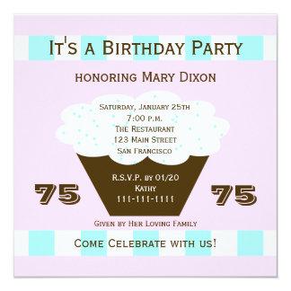 75.a invitación de la fiesta de cumpleaños de la invitación 13,3 cm x 13,3cm