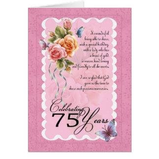 75.a tarjeta de felicitación del cumpleaños - rosa