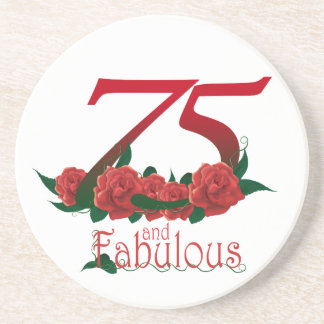 75  and fabulous 75th birthday number sandstone coaster