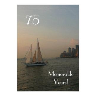 75 años memorables/Velero-Cumpleaños Invitación 12,7 X 17,8 Cm