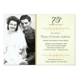 75.as invitaciones elegantes del aniversario con invitación 12,7 x 17,8 cm