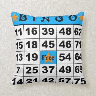 75 Ball Bingo blue/red Throw Pillow