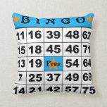 75 Ball Bingo blue/red Throw Pillows