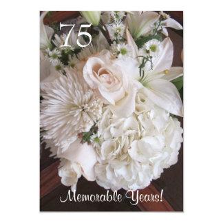 75 Birthday Celebration/Elegant White Floral Card