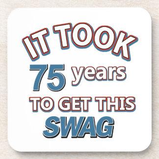 75 birthday design coaster