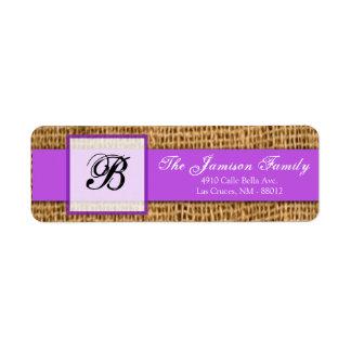 """.75"""""""" cordón púrpura de la arpillera del remite x2 etiqueta de remitente"""
