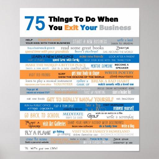 75 cosas a hacer cuando usted sale su negocio posters
