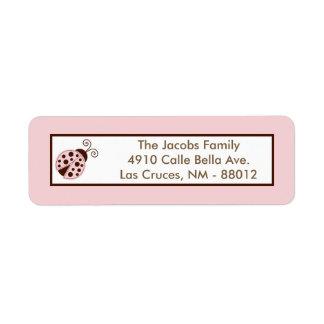 """.75"""""""" mariquita del rosa de la etiqueta del remite etiqueta de remite"""
