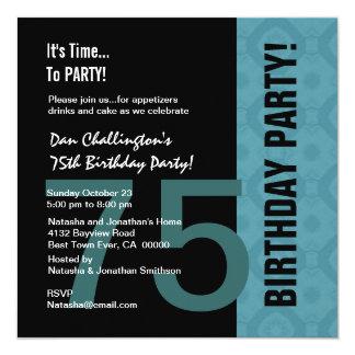 75.o Aguamarina moderna C847 negro del cumpleaños Invitación 13,3 Cm X 13,3cm
