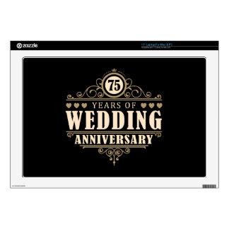 75.o Aniversario de boda Calcomanía Para Portátil