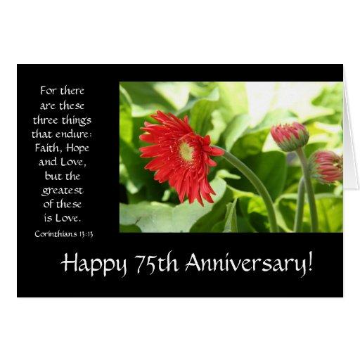 75.o Aniversario, floral, verso de la biblia sobre Tarjeta De Felicitación