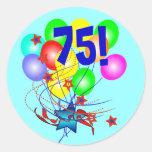 ¡75! O cualquier cumpleaños de la edad hincha alre Pegatinas Redondas