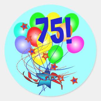 ¡75! O cualquier cumpleaños de la edad hincha Pegatina Redonda